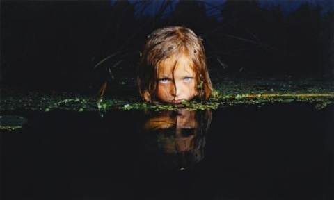 girl in a swamp from fear series by oleg kulik