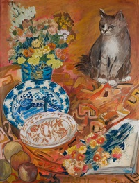 nature morte au chat by françoise adnet