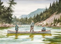 canoe on the st. jean (2 works) by john swan