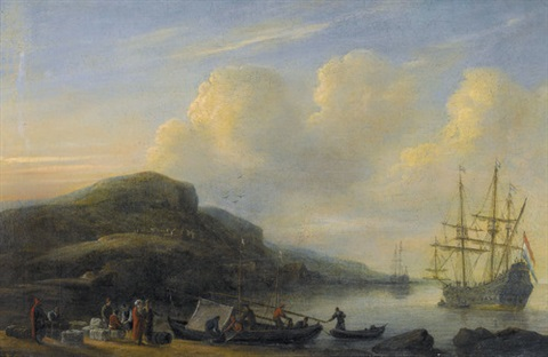 küstenpartie mit segelschiffen und staffage by zeeman