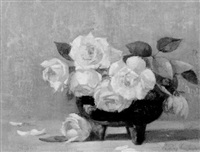 a bowl of pink roses by leroy ireland
