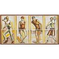 frieze depicting male and female tennis players and swimmers (in 8 parts) by henry varnum poor