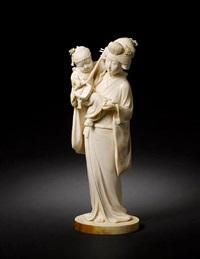 mother and child by kikuchi godo