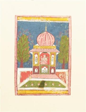 in einem pavillon sitzt ein musiker der die vina spielt by indian school 17
