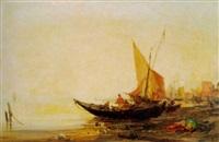 fischer mit ihren booten am strand bei sonnenuntergang by paul bistaagne