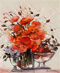 coquelicot et clematites by michael henry