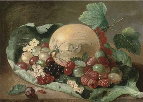 mixed berries and melon on a cabage leaf by james wilson mackenzie