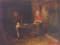a peasant family in a cottage interior by simon duiker