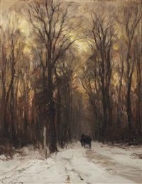 along a forest path on a winter's day by louis apol