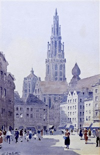 the town square, antwerp by adolphe valette