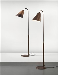 adjustable standard lamps (pair) by frits schlegel and vilhelm lauritzen