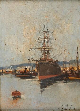 cargo à quai by eugène galien-laloue