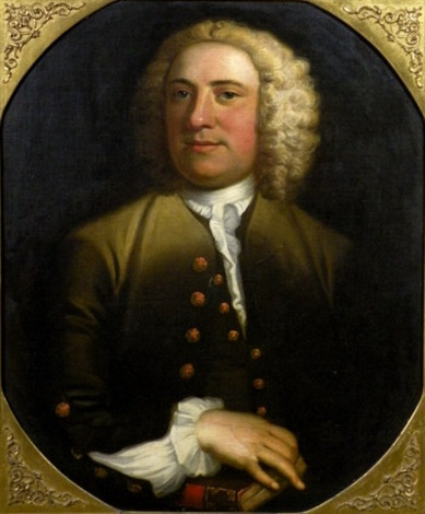 portrait of joseph littledale of whitehaven wearing a green top coat and frilled collar by mathias read
