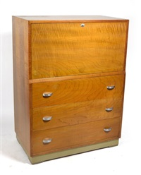 flame maple secretary by gilbert rohde