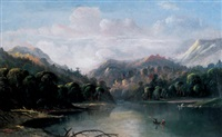 lake scene with canoe by d.c. grose