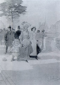ladies strolling on a quay along the seine by emile tabouret