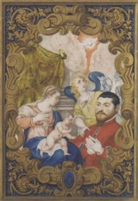 the madona and child with an angel and a donor by alessandro merli