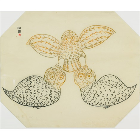 three owls by napatchie pootoogook
