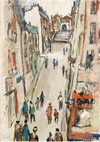 paris - rue a montmartre by louis cazals