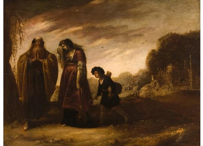 abraham mit hagar und ismael by rombout van troyen