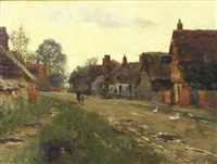 village street scene with mother and child and geese to fireground by henry john yeend king