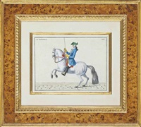 dressage scenes (after baron d'eisenberg) (6 works) by bernard picart
