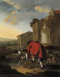 ein jäger mit seinen hunden in einer südlichen landschaft by antonius leemans