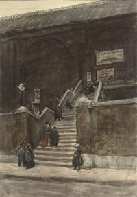 figures on the stairs by jacobus cornelis wyand cossaar
