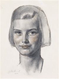 portrait of a young woman by gerald leslie brockhurst