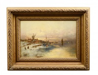 winter coastal landscape with windmill, boats and figures by georg fischhof