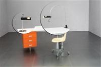 due lampade da tavolo mod. spider (una da appoggio, l'altra a morsetto) by joe colombo