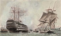 """h.m.s. victory"" lying on her permanent mooring in portsmouth harbour by william edward atkins"