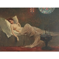 sultry nude on a daybed by endre komaromi-kacz