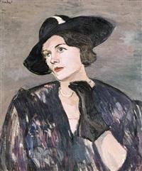 feketekalapos hölgy portréja by aurél emöd