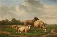 moutons dans le pré by louis pierre verwee