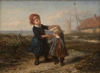 scène aux enfants dansant en bord de mer by elchanon verveer