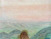 blick von der casa baldi aus olevano romane (+ berglandschaft; 2 works) by irmela goeltenboth-röck