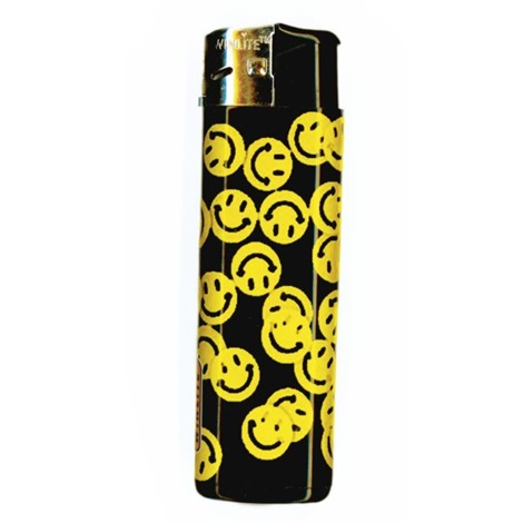 untitled, smiley face lighter with small smiley faces by nate lowman