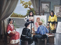 self portrait of the artist painting, with four women by federico aguilar alcuaz