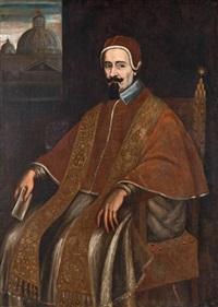 portrait d'un pape devant la coupole de saint pierre by italian school-roman (17)