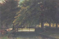lady painting in a river landscape by arnoldus johannes eymer