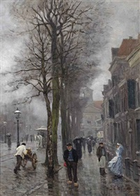 a rainy day on the biltstraat, utrecht by johan coenraad ulrich legner