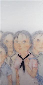 黑领巾 镜片 设色纸本 by zeng jianyong