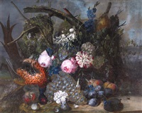 still life flowers fruit and game in a woodland setting by jan van os