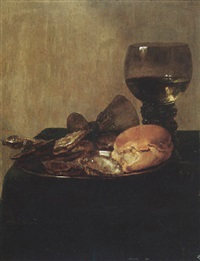 still life of bread and oysters on a pewter dish with a roemer and an overturned wineglass upon a draped table-top by abraham susenier