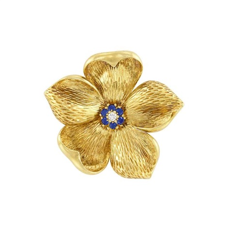 eaefc198453 Gold, Diamond and Sapphire Flower Brooch, Tiffany Co by Tiffany & Co ...