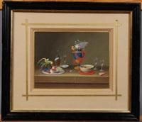 assiette de fruits au perroquet, bouteille étiquetée subac, vase empire fleuri, bol et verres sur un entablement by lelong