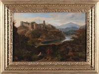paesaggio con figure e città fortificata by hendrick frans van lint