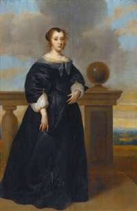 a portrait of a woman, full length, in a black dress, standing next to a balustrade by isaac luttichuys