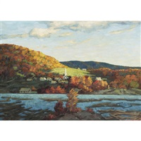 lakeside village in autumn by lorne kidd smith